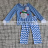 OEM Branded newborn baby clothes winter snowman top chevron pant christmas girls clothing
