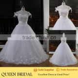 Real Sample Cap Sleeve Appliqued Butterfly Wedding Dress Latest Wedding Gown Designs