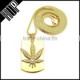 Gold Tone Maple Leaf Dog Tag Hip Hop Necklace
