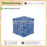 Unique Style Knitted Pouf with Hand Block Indigo Printing at Lowest Rate