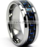Black Tungsten Carbide Ring with Carbon Fiber Inlay, Black Tungsten Ring with Blue Black Carbon Fiber
