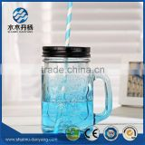 16oz blue mason glass jar drinking bottle with handle and straw