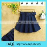 New 2014 Fashion Designer Women Spring Autumn High Waist European Style Pleated Scalloped Skirts With belt