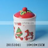 2016 wholesale ceramic christmas canister with santa claus painting