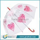 newest fashion heart shape printing demo POE plastic kid umbrellas