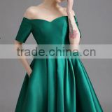 newest plus size evening dress green elegant a-line neck high waist bubble skirt design dress ladies