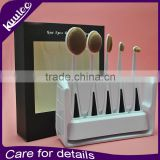 Professional 5 Piece Toothbrush Makeup Brushes and holder set for Foundation Liquid Powder Cream Facial