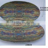 Oval Aluminium Bowl with enamel and floral patterns also available in food safe enamel and metal