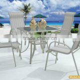 Garden outdoor metal in alu with sling fabric dining furniture set ,table and chair sets