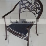 restaurant terrace metal chairs cast aluminum chair/bronze metal dining chair/metal frame dining chair rattan weaving seat