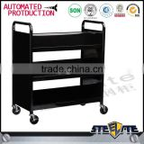 Library Furniture 3-tier Double Sided Mobile Steel Book Cart with wheels