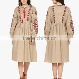 Boho Ukrainian Designs Beige Embroidered Shift Dress Bohemian Clothing Style Long Sleeve Maxi Dress HSd5083