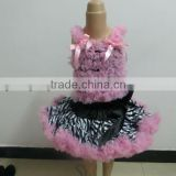 Wholesale Baby Pettiskirt and Top Set Little Girls Pink Ruffled Petti Top and Fluffy Zebra Print Petti Skirts Set