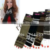 New Fashion Women's Snow Pattern Braided Knit Fingerless Arm Long Gloves Warmer 7912