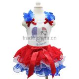 Girls Red White Blue Petal Tutu Rhinestone World Cup France Flag Heart Football White Tank Top 1-7Y