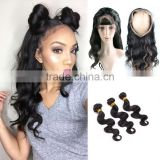 100% Brazilian Human Hair 360 Frontal , 2016 Hot Selling New Arrival Glueless Frontals 360 Lace Frontal Wig With Elastic Band