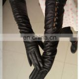 long embossed sheepskin long dress gloves