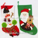 OEM Wholesale Fashion stuffed animals christmas stocking With Snowflowers Santa Claus and Reindeer Ornament