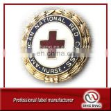OEM Eco-friendly Gold &Enamel Plated Red Cross Society Decoration Use Butterfly Button Type Souvenir Metal Custom Public Badge