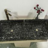 Black Sea Shell Marble Bathroom Wash Double Bowls Sink