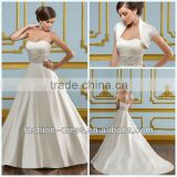 Gorgeous Sweetheart Duchess Satin With Embroidery With Embroidered Bolero Jacket Crystal Beaded Wedding Dress