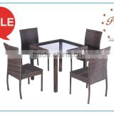 pe rattan tempered glass table set four chairs outdoor cafe used