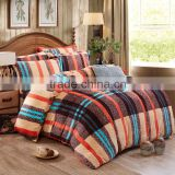 Adults age group polyester strip printed romantic super soft keep warm flannel bedding set