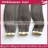 Brazilian silver hair 40 pieces/bag tape hair extension,no tangling no shedding,100%virgin human hair