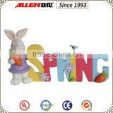 "5.9"" bright color resin rabbit statue standing by spring letter for Easter decoration"