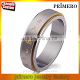 Rotatable High Quality Scripture Ring in Stainless Steel White Gold Plating for Men's Classical Luck Jewelry