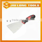 Carbon steel blade putty knife scraper with twin-color rubber handle