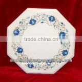 Lapiz Lazuli White Marble Inlay Table Top Pietre Dure Art Work
