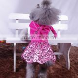 wine red dog skirts velvet+Sequins yarn spring summer dog sexy girl rabbit shaped dog skirts factory