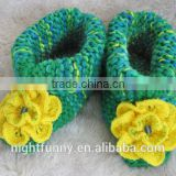 Green multi-color knit slippers,crochet beaded yellow flower,Alaskan lilies,gift for mom and baby,customized size knitted shoes