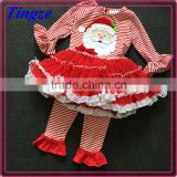 Kids Holiday Clothing Set Baby Girls Ruffle Pant Outfit baby girls santa Christmas cotton autumn clothes set TR-CA44