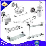 luxury hotel 8 parts bathroom hardware sets with soap dispenser,towel bar,tissue holder ,tumbler holder