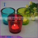 Machine pressed spray colored mini glass candle holder suitable in bar
