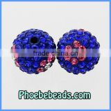 12mm Shamballa Beads Wholesale Flower Design Clay Micro Pave Bling Bling Crystal Rhinestone Jewelry Bracelets Findings CPB-B16