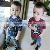 China Wholesale Baby Boys Screen Print Plaid Pattern Boys Clothing T-shirt                                                                         Quality Choice