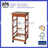 Solid pine wood kitchen trolley/cart/island with one drawer and 3-basket