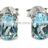 1.85ctw Genuine Blue Topaz Oval .925 Sterling Silver Stud Earrings