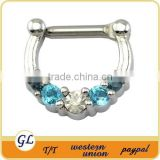 wholesaler New arrival 316l Stainless Steel 4 Prong Setting Septum Clicker, Nose Septum Piercing,