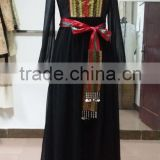 2015 lady V-neck black long-sleeve embroidered waist dress chiffon maxi dress