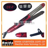 2015 new design titanium private label professional 2 in 1 hair curler and hair straightener
