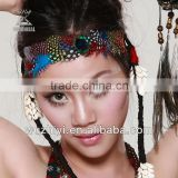 Cheap Tribal Peacock Feather Belly Dance Headpiece, Feather Headwear Angels Decoration for Woman Dancer (T008)