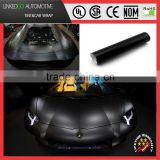 Metallic black matte bubble free car wrap for stretchable car body satin chrome vinyl sticker 1.52*20m