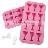 Cute 12 holes glass bottle shaped silicone ice tray jelly candy mold