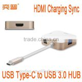 USB-C Multiport Adapter USB Type-C male to Type C female Charger device with HD female Adapter for Apple Macbook 12""