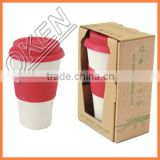 Organic rice husk bamboo fiber coffee cup 2016 Design BPA free eco-friendly double wall custom branded tea cups with logo