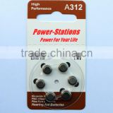A312 Zinc air button cells / hearing aid battery